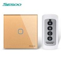 EU UK SESOO Remote Control Switch 1 Gang 1 Way RF433 Smart Wall Switch Wireless Remote