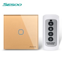 EU UK SESOO Remote Control Switch 1 Gang 1 Way RF433 Smart Wall Switch Wireless Remote