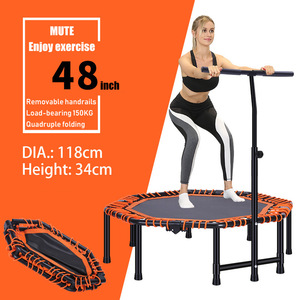Image 5 - 48 Inch Quadruple Folding Indoor GYM Fitness Octagonal Trampoline for Adults Kids Safety Jump Sports with Adjustable Handrail