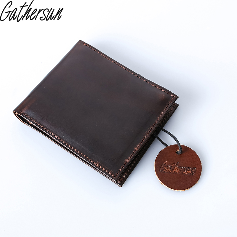 2017 Top New Short Gathersun Brand Handmade Crazy Horse Leather Wallets Men's Wallet Original Purse Quality Head Layer Cowhide gathersun the secret life of walter mitty retro wallet handmade custom vintage genuine wallet crazy horse leather men s purse