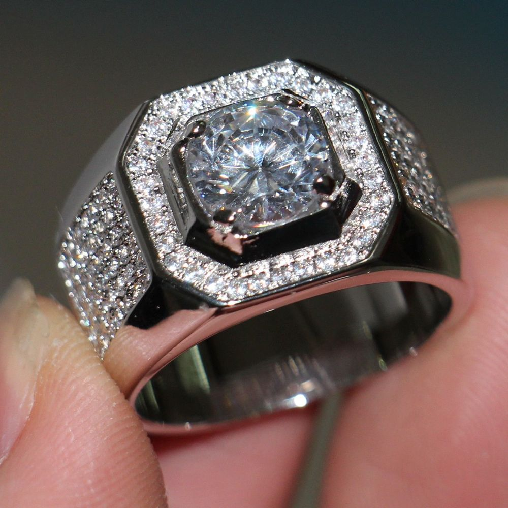 Size 7-13 Luxury jewelry Men Solitaire Band 8mm Diamonique Cz simulated  Diamond 10KT White