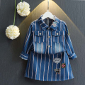 Anlencool Winter Girls Dress  Brand Casual Style Jeans Dresses Long-sleeve Striped Embroidery Design for Kids Dress 3-7Y