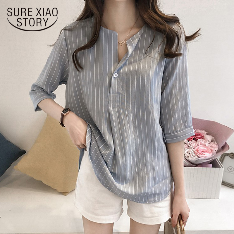 New 2018 Summer Plus Size 4XL White   Shirt   Female Big Sizes Striped Casual Women   Blouse     Shirt   Chiffon Female Tops Blusas 0753 30