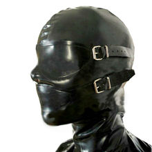 Sexy Fetish Mask Black Unisex Latex Hoood with Eyes Mouth Cover Plug Gag Attached to