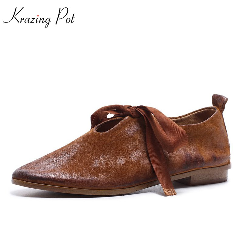 Krazing Pot new women flats pointed toe simple style soft lace up solid high fashion shallow casual preppy style cozy shoes L18 2016 new women s fashion shoes spring summer style casual flats lace up pointed toe leather plus size 35 41 loafers for girls