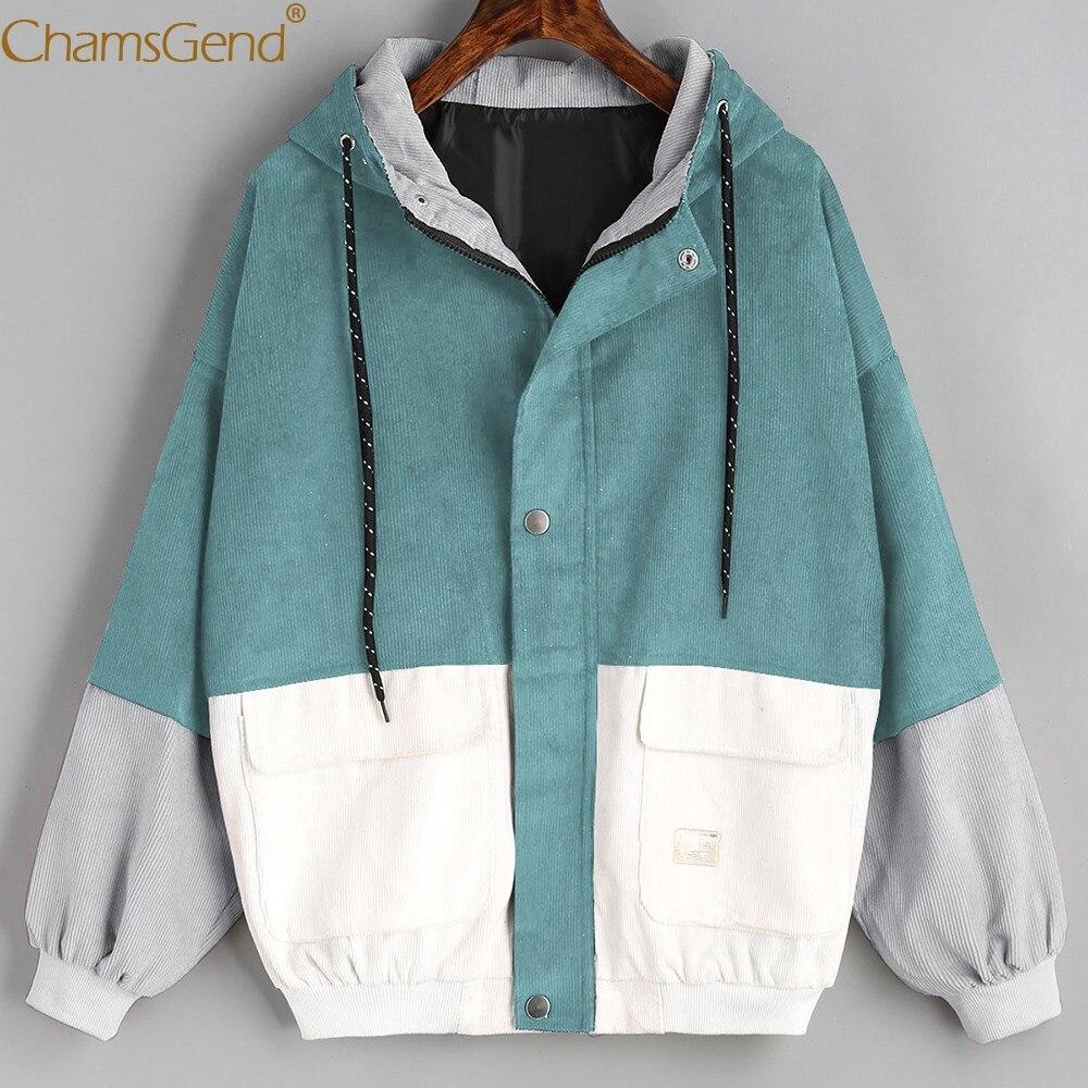 Chamsgend Basic Jackets Women Fashoin Patchwork Corduroy Jacket Winter Coat Windbreaker Hoodie Zipper Loose Outwear 80117