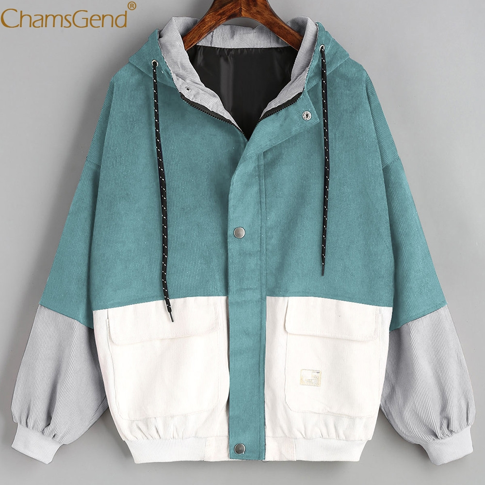 Chamsgend   Basic     Jackets   Women Fashoin Patchwork Corduroy   Jacket   Winter Coat Windbreaker Hoodie Zipper Loose Outwear 80117