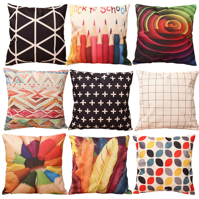 9 Styles Home Colorful Geometry Nature Home back to school Cotton Linen Throw Pillow Case Cover Small Pillowcase 43*43cm