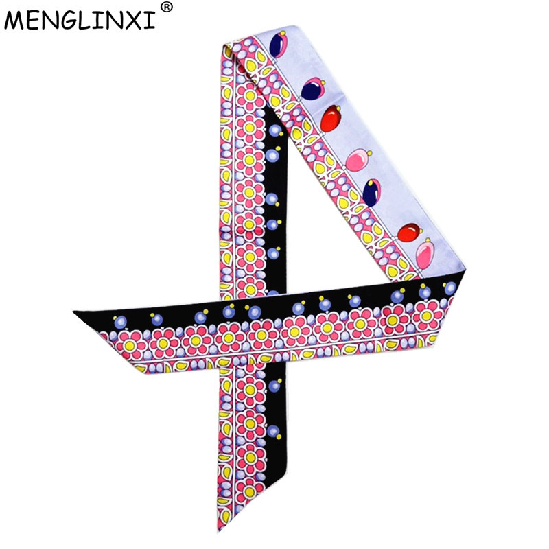 Small Color Lamp Skinny Silk   Scarf   2019 New Brand Women   Scarves   Jewel Pattern Head   Scarf   Handle Bag   Scarves     Wraps