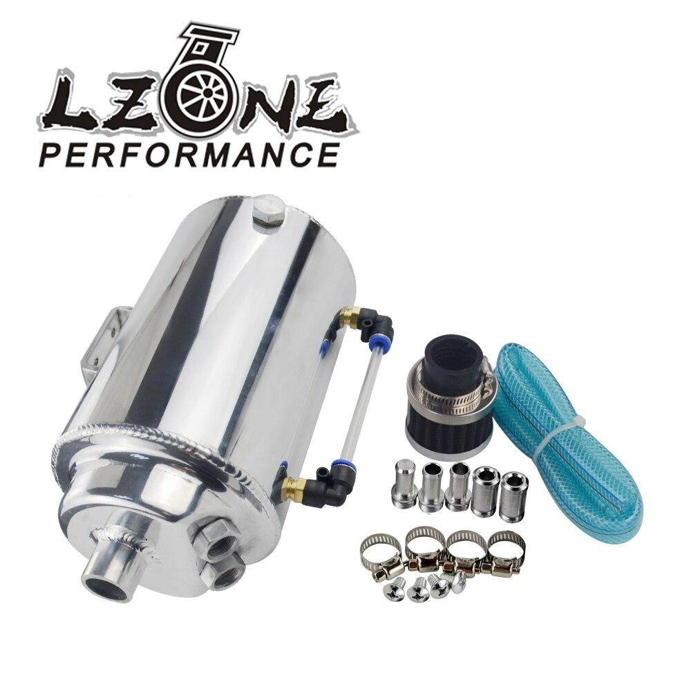 LZONE-2L 2 LITRES En Aluminium POLI ROUND OIL CATCH TANK CAN AVEC FILTRE RENIFLARD JR-TK01