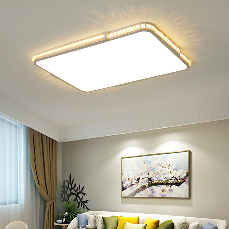 US $101.5 30% OFF|LED crystal ceiling lights Flat panel lamp Remote dimming  Modern living room bedroom lights indoor home fixtures free shipping-in ...