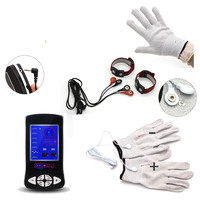 Electro Shock Kits Silver Fiber Therapy Electrode Gloves Body Massage Conductive Penis Rings Stimulation Sex Toys For Men
