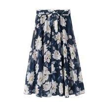 Шифоновая юбка летняя новая кружевная Цветочная длинная юбка с принтом большая сказочная пляжная длинная юбка женская