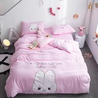Cartoon Bedding Set Cute Rabbit white Pink Child Comforter cover Double Duvet Cover Bedspread Linens Queen King Kids Bedclothes