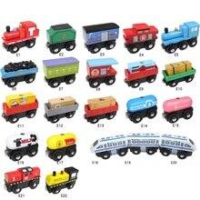 Деревянная железная дорога автомобиль магнитный поезд Игрушка локомотив аксессуары для поездов дети подходят деревянные развивающие модели магнитные поезда