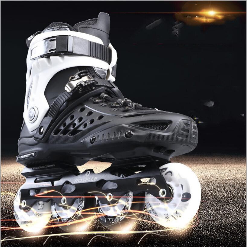 Pro Rouleau Adulte De Patinage Chaussures De Patins À Roulettes Chaussures Réglable Route Coulissante/Slalom Patins À Roues Alignées Chaussures