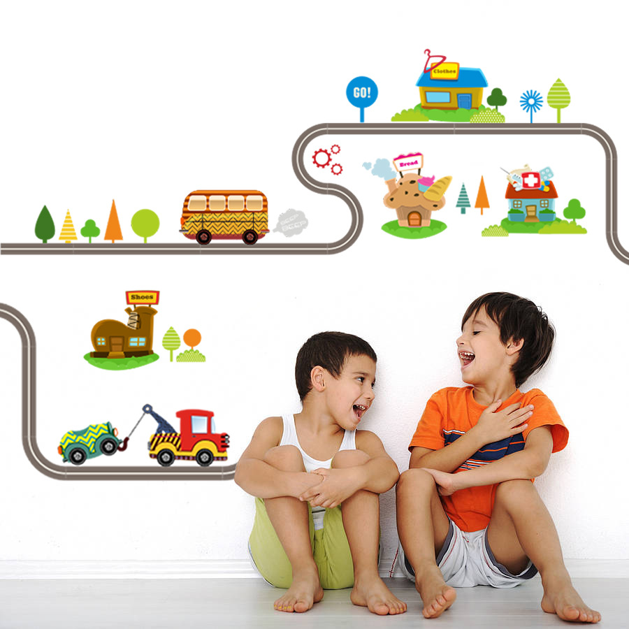 Childrens room car track bedroom cartoon stickers baby paradise simulation urban traffic childrens house game wall stickers