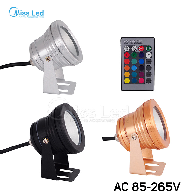 AC85-256V 10W LED Underwater RGB/White/Warm/Red/Blue/Green Plain mirror Floodlight lawn Swimming Pool Spot Light IP68 Waterproof