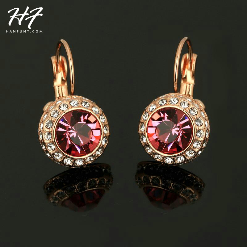 E075 Pink Moon in River Rose Gold Color Earrings Genuine SWA ELEMENTS Austrian Crystal Wholesale