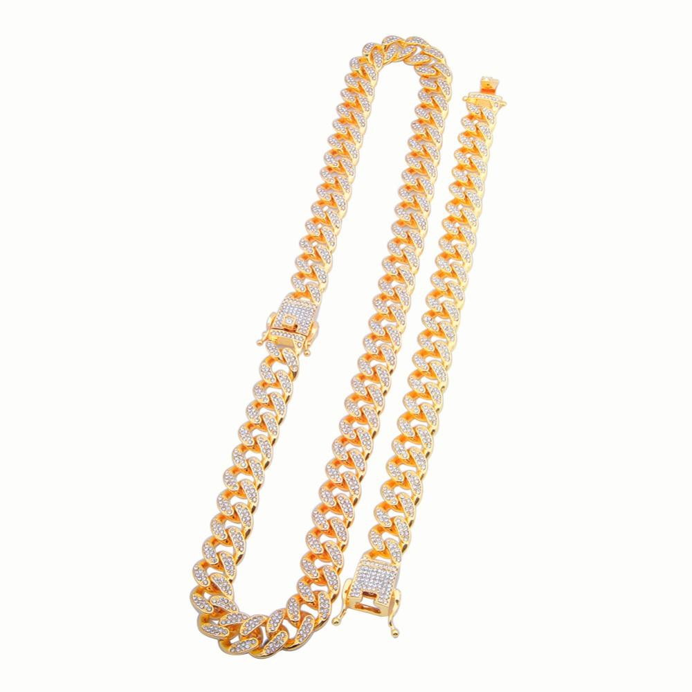 13mm Miami Cuban Link Chain Gold Silver Necklace Bracelet Iced Out Crystal Rhinestone Bling Hip hop for Men Jewelry Necklaces 3