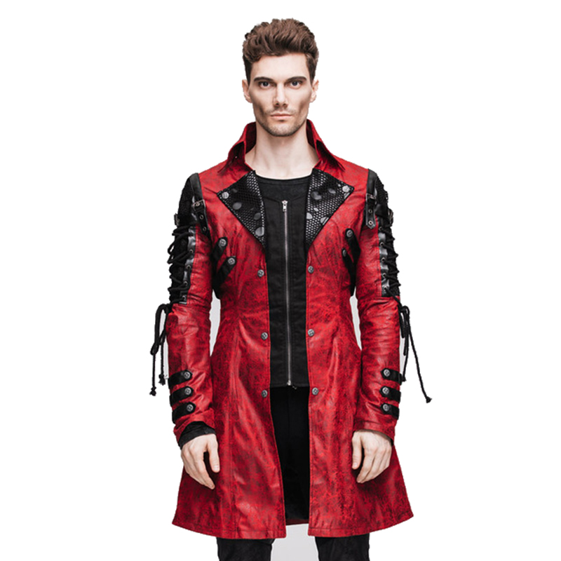 Punk Gothic Winter Men Coats Casual Motorcycle Faux Leather Long Jackets Splicing Stage Dust Coat