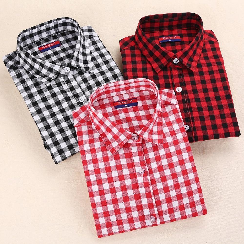 Dioufond nieuwe dames geruite blouse katoenen dames lange mouw tops dames rode geruite overhemd vrouwelijke geruite vrouwen blouse plus size shirt