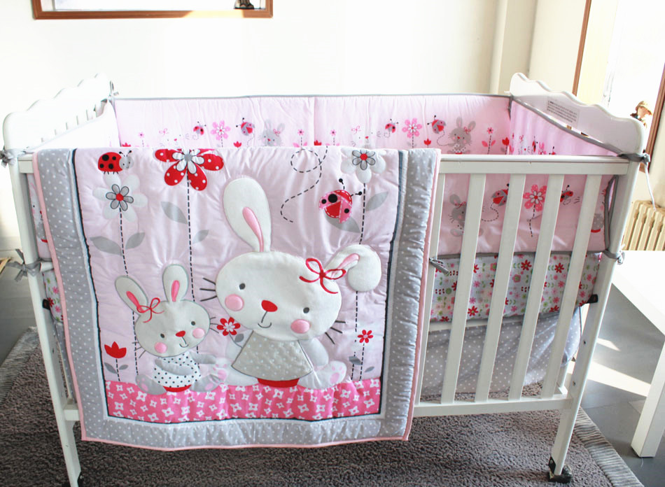 Promotion! 7pcs Embroidery Baby Cot Bedding Set 100% Cotton Curtain Crib Cot Sets ,include (bumpers+duvet+bed cover+bed skirt)