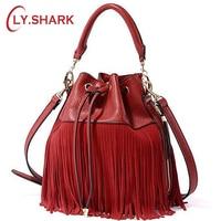 LY.SHARK Tassel Red PU Leather Handbag Women Bag Female Shoulder Crossbody Bag Women Messenger Bag Bucket Tote Bag Barrel Small