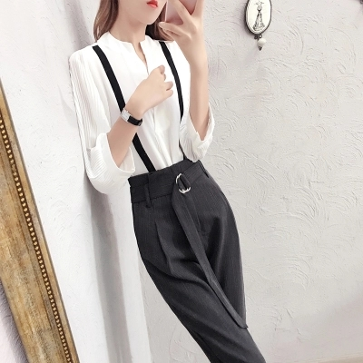 Fashion Suit women spring New high quality Temperament goddess white shirt + nine points pants two-piece Suit women 4