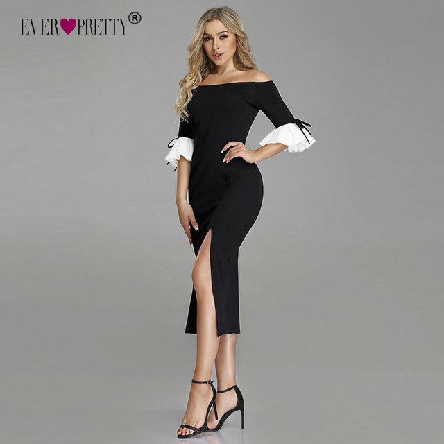 Robes de soirée noires 2019 Ever Pretty EP05882 2018 mode femmes volants demi manches hiver Sexy hors épaule dames robes