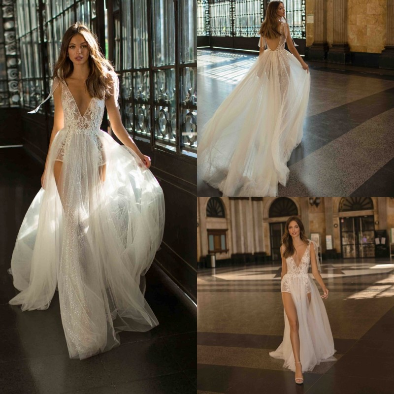 2019 A Line Wedding Dresses Sexy Sheer V Neck Backless Lace Bridal Gowns High Side Split Wedding Dress Vestido De Novia
