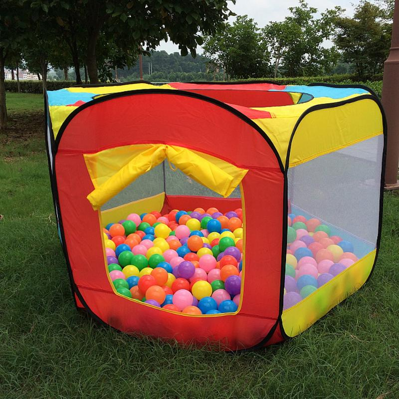 Colorful Kids Playing Tent Play House Indoor Outdoor Easy Foldable Ball Pit Hideaway Tent Fence Play Hut 140*128*75cm