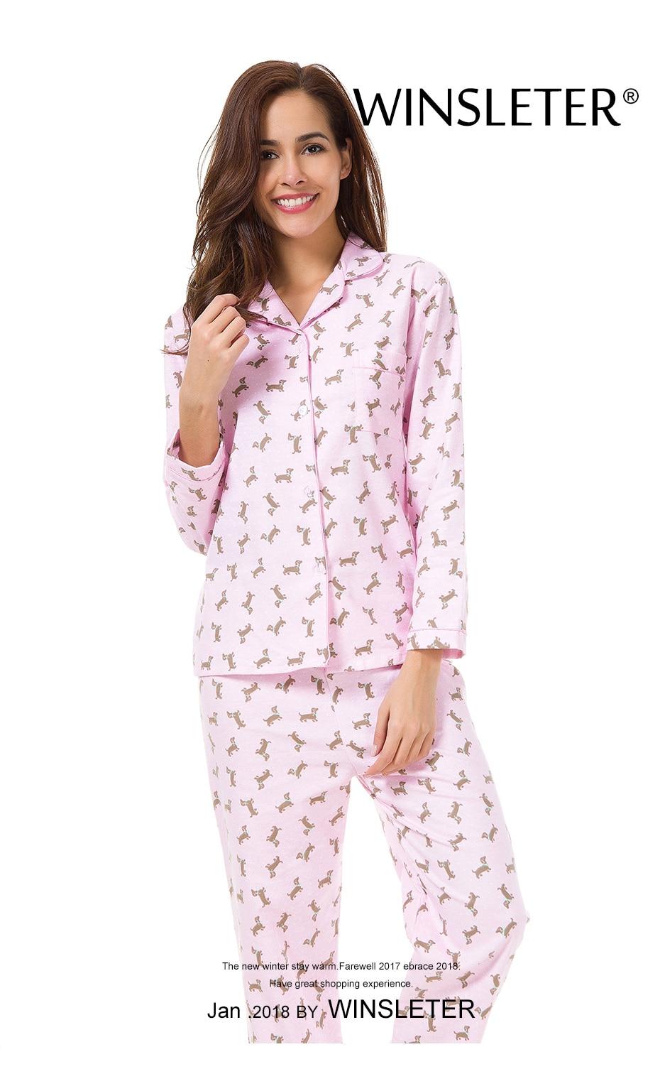 Dropwow 2018 Pink Pajama Sets Women Cute Dachshund Print 2 Pieces ... 2055b8e38