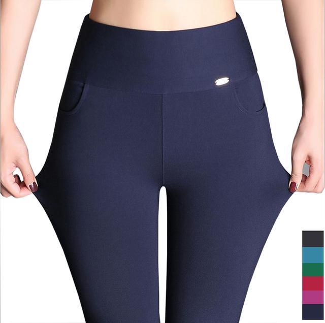 Calças mulher! Alta qualidade primavera e verão de algodão ocasional das senhoras calças lápis, Skinny cintura elástica calças Slim calças femininas