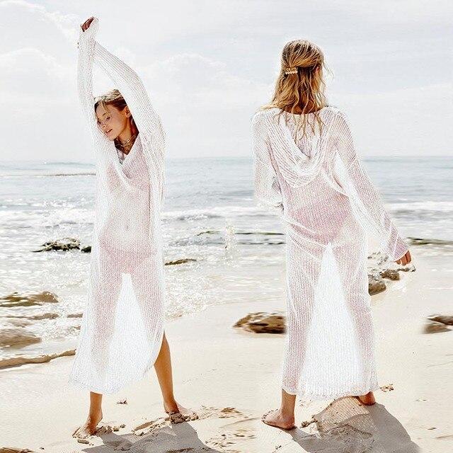 2019 г. пикантные худи с v-образным вырезом трикотажное летнее пляжное платье длинная туника пляжная туника Для женщин Robe de пляжные бикини вязаное крючком пляжное платье