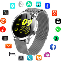 New 1.22 Inch Smart Watch Waterproof IP67 Blood Pressure Monitoring Metal Starp Multi Sport Modes SmartWatch Women Band Watch