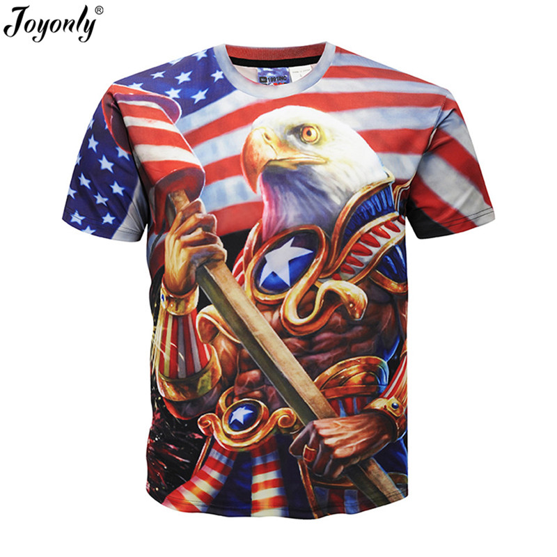 Joyonly Boys/Girls Animal Eagle US Flag Printed Funny Kids Cartoon T-shirts Kids Short Sleeve T shirt Children Casual Clothing