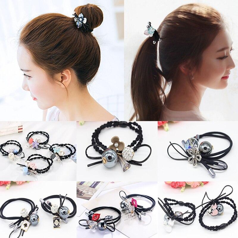1PC Fashion Women Hair Band Headband Head Piece Flowers Crystal Rope Elastic Diverse Ponytail Holder