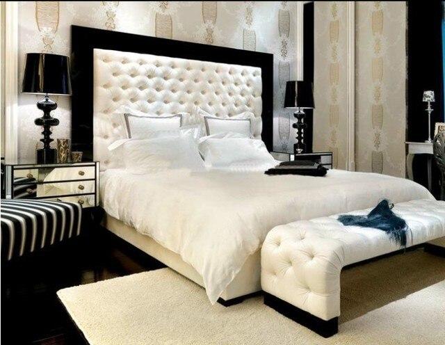 Después de moda de moderna respaldo alto cama doble cama de cuero ...