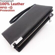 Leather Brand Men Wallets Male RFID Blocking Slim Wallet Long Genuine Leather Brand Purse First Layer Cowhide Men Clutch Men bag
