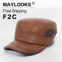 2018 ماركة maylooks الرجال جلد طبيعي جولف الرياضة كاب قبعة بيسبول الرجال الشتاء الجديد الجيش العسكرية القبعات قبعات مع الأذن رفرف Cs55