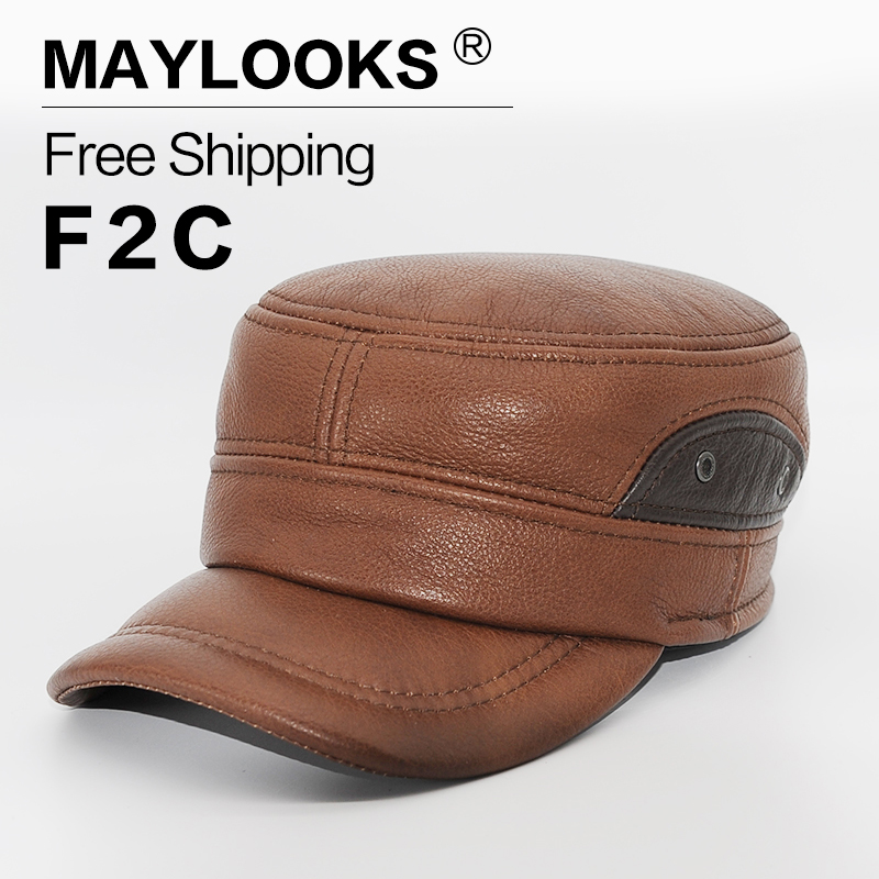 30925bbd8ae 2018 Maylooks Brand Men Genuine Leather Baseball Golf Sport Cap Hat Men s  Winter New Army Military Hats Caps With Ear Flap Cs55