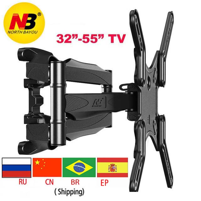 NB P5 5542 6 arm VESA400X400 200X200 retractable full motion led tv rack wall mount lcd bracket цена