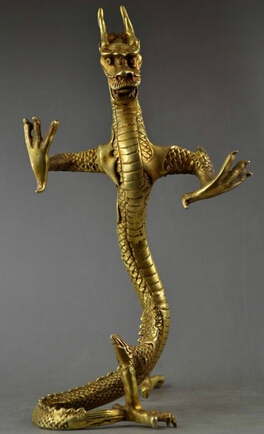 Copper Crafts Brass decoration Fine Brass 9.3Inch Chinese Handwork Copper Carving Lifelike Dragon Stand Stateliness Statue Copper Crafts Brass decoration Fine Brass 9.3Inch Chinese Handwork Copper Carving Lifelike Dragon Stand Stateliness Statue