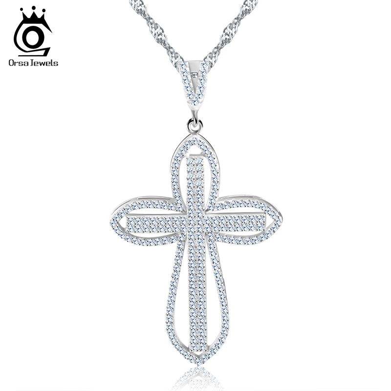 цена на ORSA JEWELS Luxury Cubic Zircon Paved Cross Pendant Silver Color Charming Necklace For Girl's Gift Fashion Women Jewelry RON118