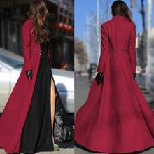 Stylish Sexy Womens Full Length Slim Wool Blend Coats Stand Collar  Trench Overcoat F1
