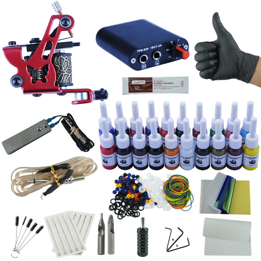 Tattoo Kit  20 Colors Inks 8 Wrap Coils Tattoo Gun Machines Grips Needles Power Supply Tattoo Kit For Beginner Accessories SetTattoo Kit  20 Colors Inks 8 Wrap Coils Tattoo Gun Machines Grips Needles Power Supply Tattoo Kit For Beginner Accessories Set