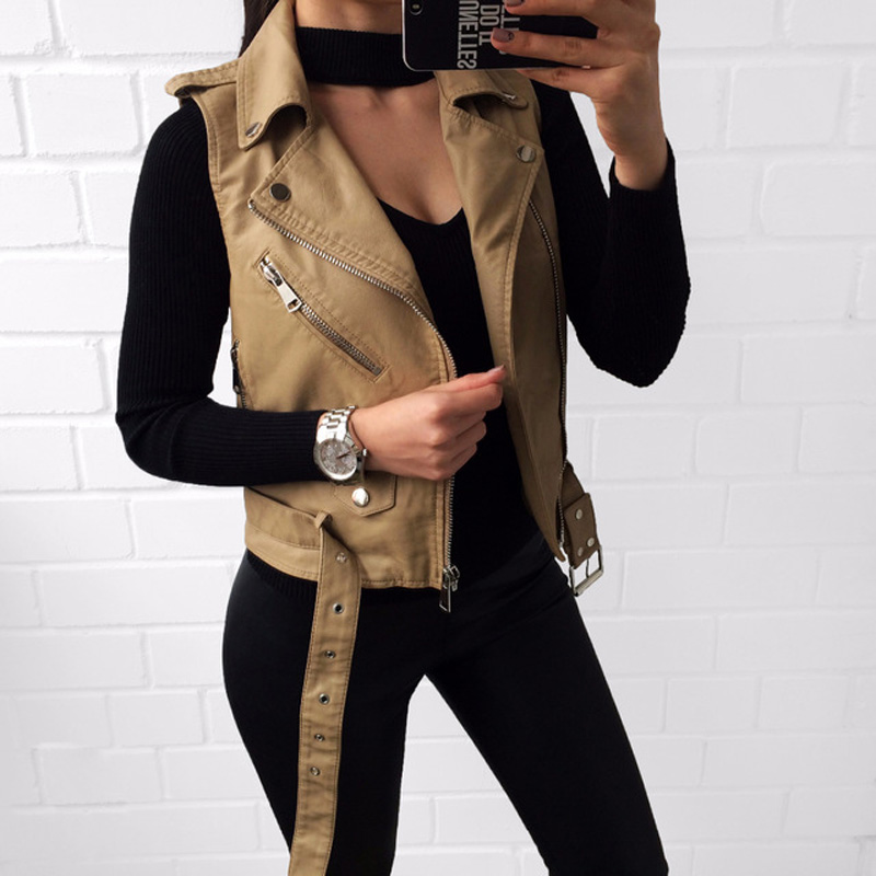 New!Pink Leather Vest Women PU Soft Vest Ladies tatical Leather Motorcycle Pocket vest waistcoat Rivet colete WaistCoat Biker pocket