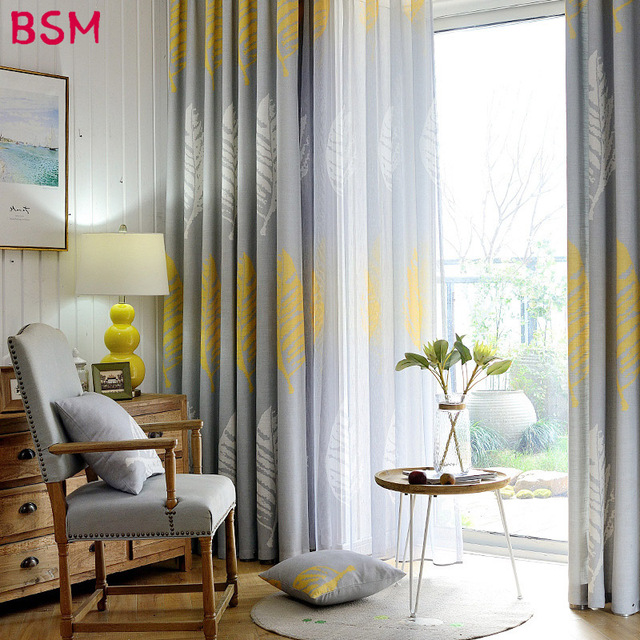 gray and yellow curtains for living room curtain designs small modern bedroom shade leaf drapes hotel leaves custom made home noren rustic xy8015