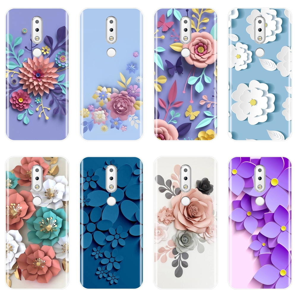 TPU Phone Case For <font><b>Nokia</b></font> 2.1 3.1 5.1 6.1 <font><b>7.1</b></font> Case Silicone Rose Flower Purple Soft <font><b>Back</b></font> <font><b>Cover</b></font> For <font><b>Nokia</b></font> 2.1 3.1 5.1 6.1 <font><b>7.1</b></font> Plus image
